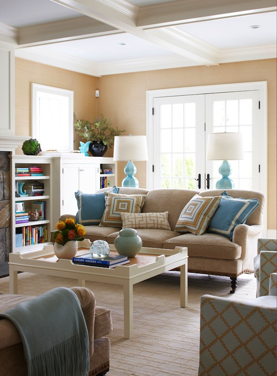 Blue White And Brown Living Room | Gopelling.net