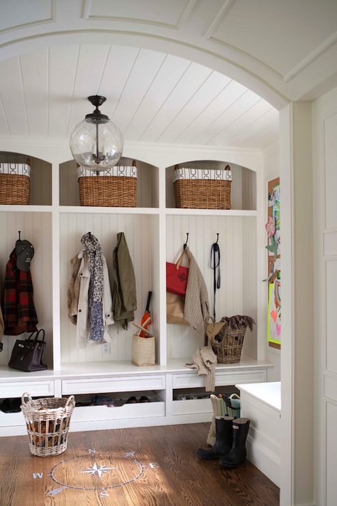 Suzie: Muse Interiors  Large, open functional mud room design with beadboard, woven baskets and ...