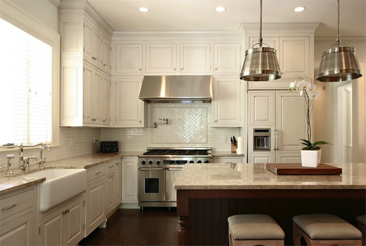 Herringbone Backsplash Transitional Kitchen Dresser