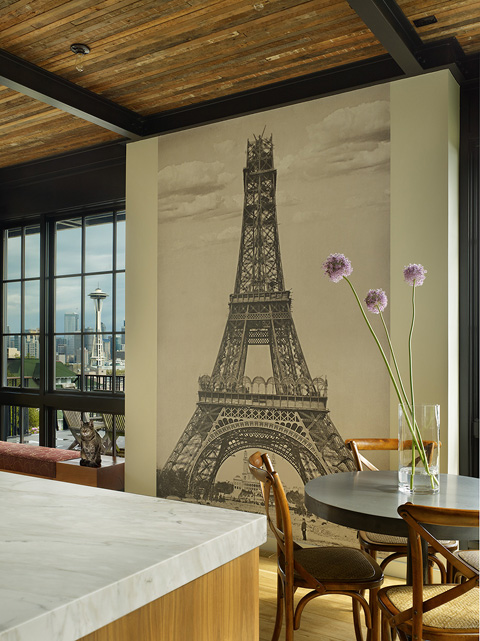 Eiffel Tower Mural Contemporary Dining Room Janof