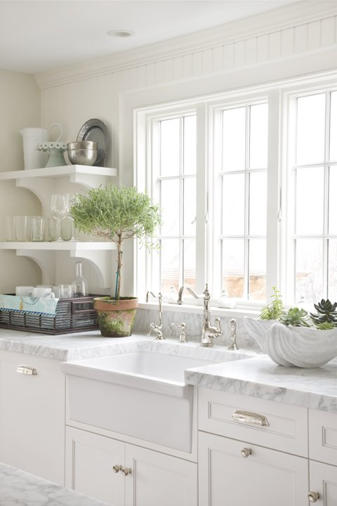 White Apron Sink Cottage Kitchen Molly Frey Design