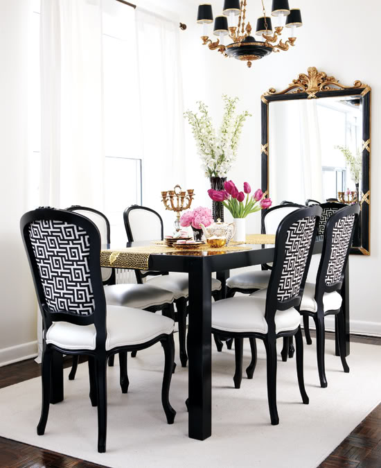 Glamorous Dining Room Design Ideas Black and White Dining Room view full size