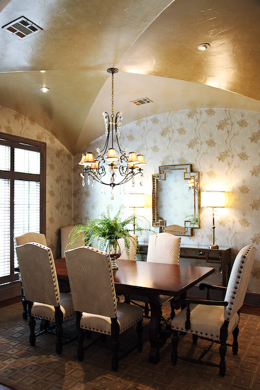Gold Ceiling Transitional Dining Room EJ Interiors