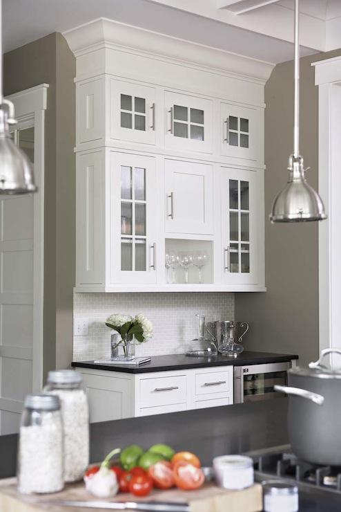 Mini Yoke Pendants Transitional Kitchen Sherwin Williams Berkshire Beige Linda McDougald