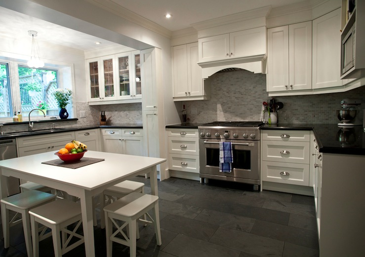 White Dining Table And Stools Transitional Kitchen