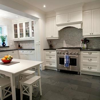 White Kitchen With Gray Floor Tiles Design Decor