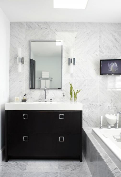 Extra Wide Single Black Vanity Contemporary Bathroom Atmosphere Interior Design