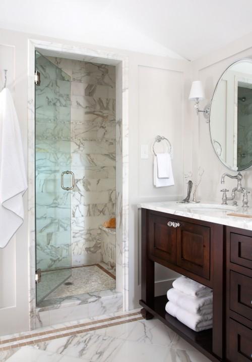 Walnut Double Vanity Traditional Bathroom Chalet