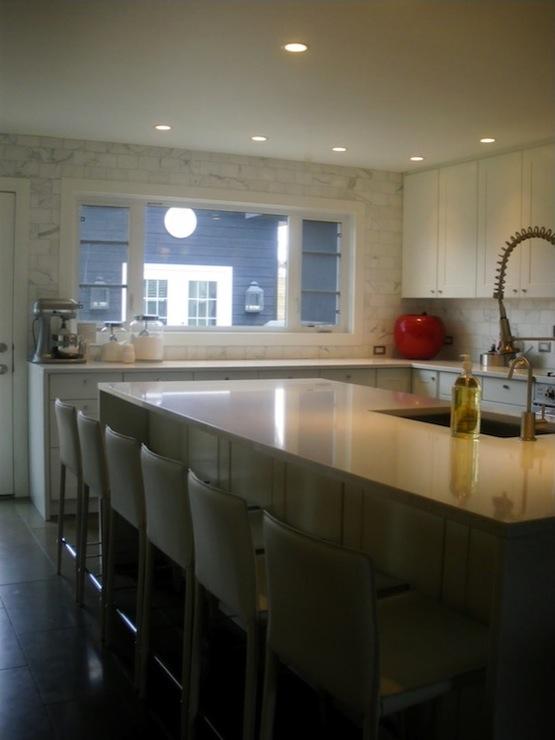 White Quartz Countertops Contemporary Kitchen Moth Design