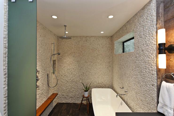 Pebble Shower Surround Contemporary Bathroom