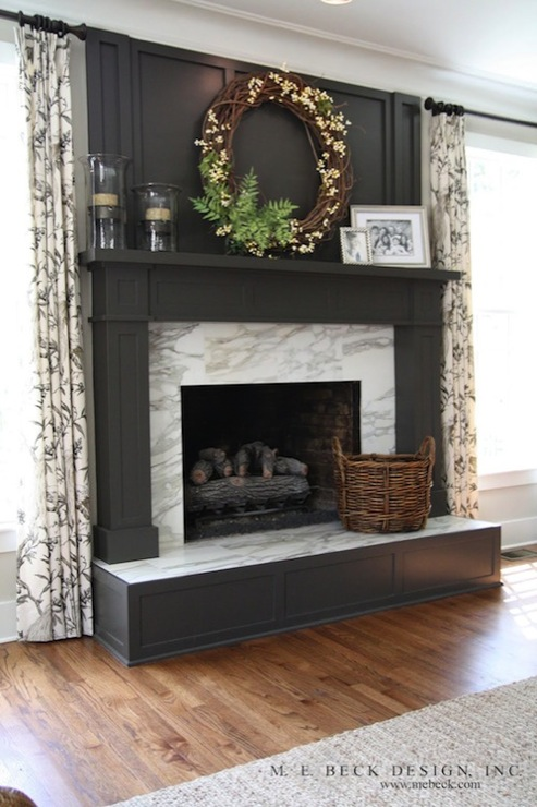 Gray Fireplace Mantle Transitional Living Room M E