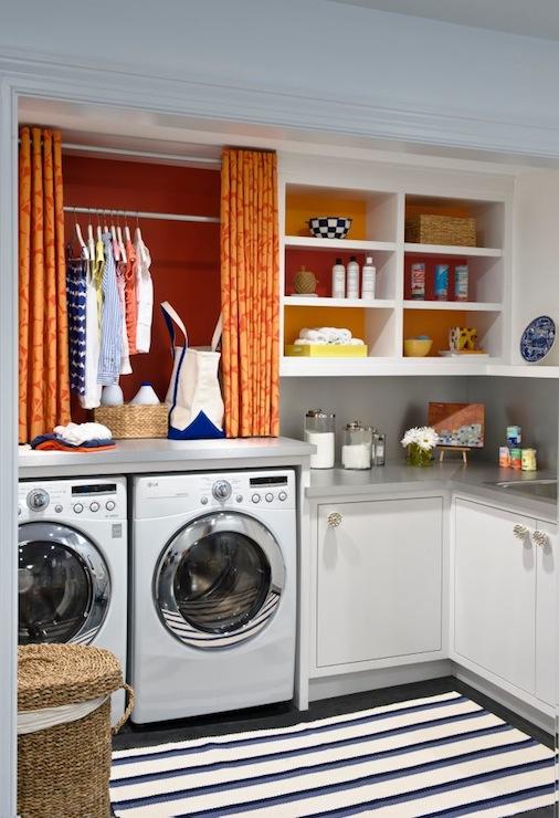 Orange Curtains Contemporary Laundry Room Benjamin Moore Raspberry Pudding Lucy Interior