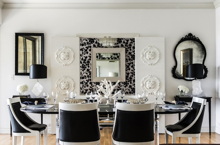 Black and White Dining Room   Eclectic   dining room   Janet Rice     Black and White Dining Room