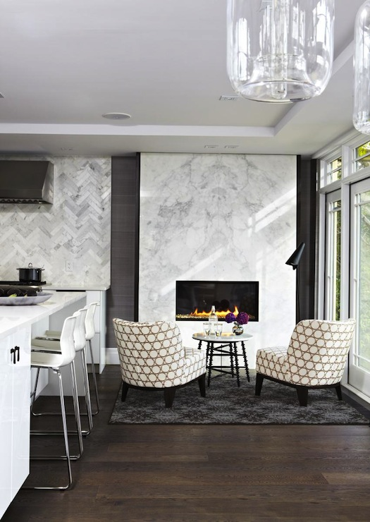 Modern Marble Fireplace Contemporary Kitchen Croma