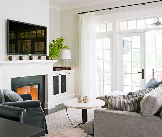 Fireplace Cabinets Transitional Living Room Benjamin