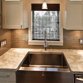 taupe brick tile backsplash design ideas