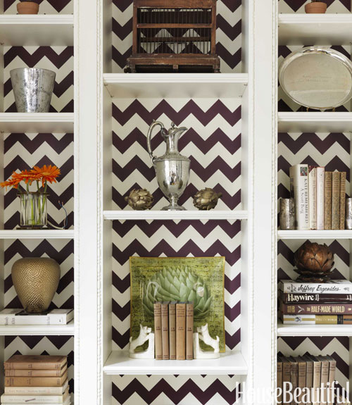 living rooms - white built-ins back of shelves white brown chevron herringbone pattern hand painted  Christina Murphy Interiors - Gorgeous white
