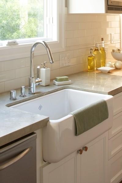 Grey Countertops Transitional Kitchen Amoroso Design
