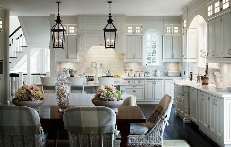 Wicker Dining Chairs Transitional Kitchen