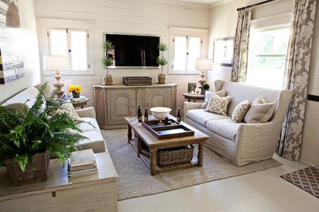 Suzie: FOUND - Kristin Alber - Elegant cottage living room with gray walls paint color, vintage ...