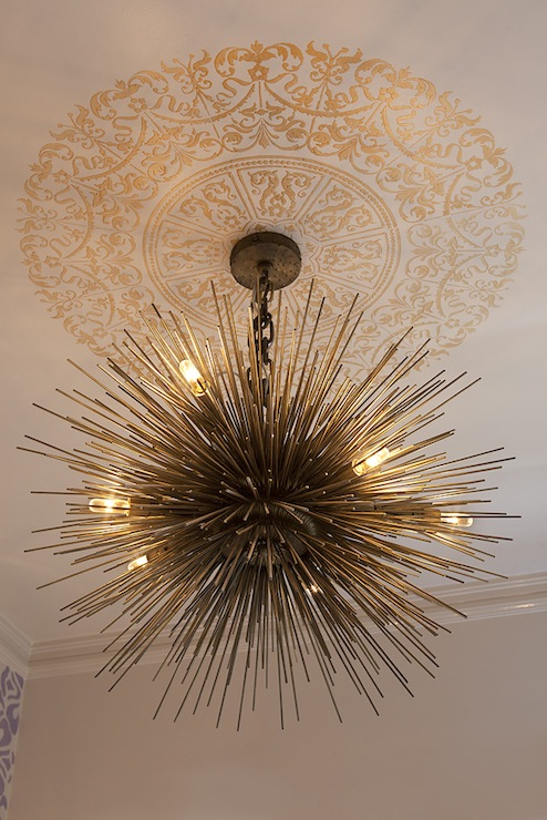 Gorgeous Brass Sea Urchin Pendant Chandelier