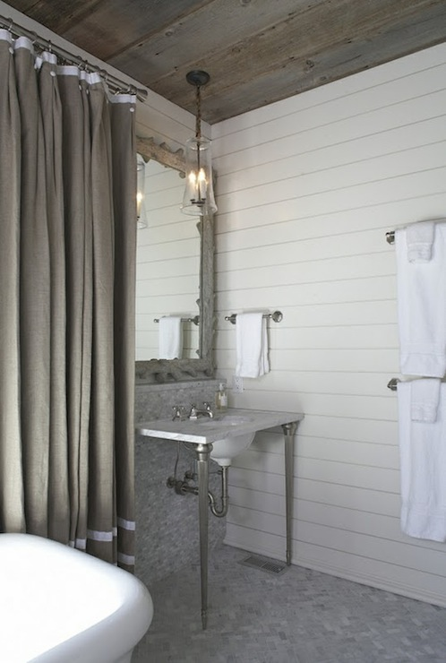 Gray Shower Curtain Cottage Bathroom Tracery Interiors