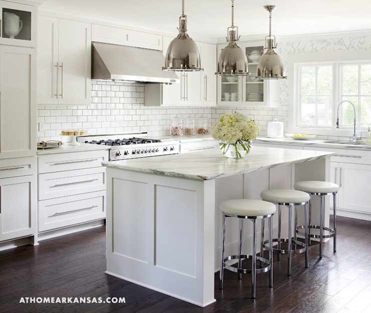Kitchens White Cabinets Subway Tile Islands