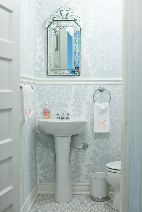 White And Blue Powder Room Traditional Bathroom Amie