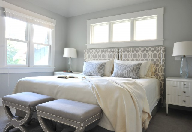 Gray Trellis Headboard Contemporary Bedroom Benjamin Moore Wickham Gray Enviable Designs