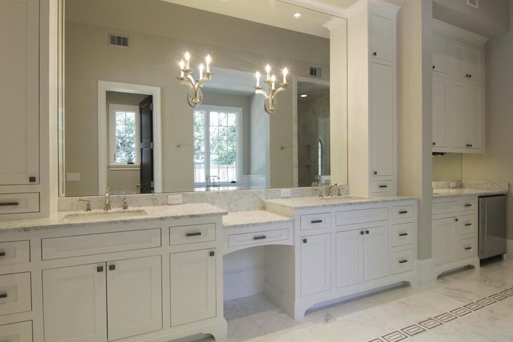 off white cabinets - transitional - bathroom