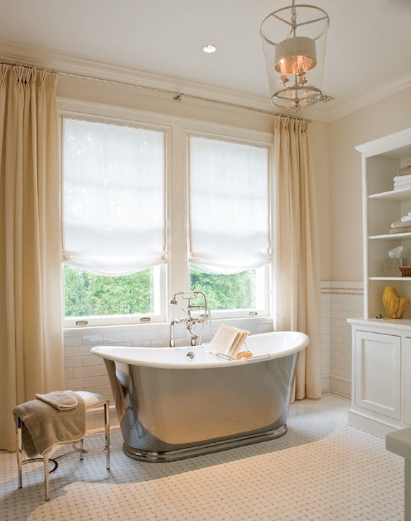 Ivory Curtains Traditional Bathroom Anne Decker Architects