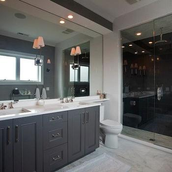 Charcoal Gray Tile Bathroom Floor Design Decor Photos