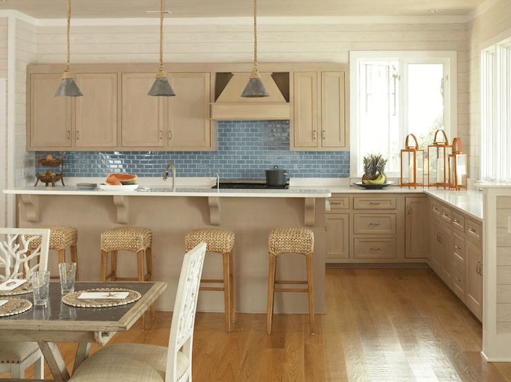 Brown And Blue Glass Tile Backsplash Design Ideas