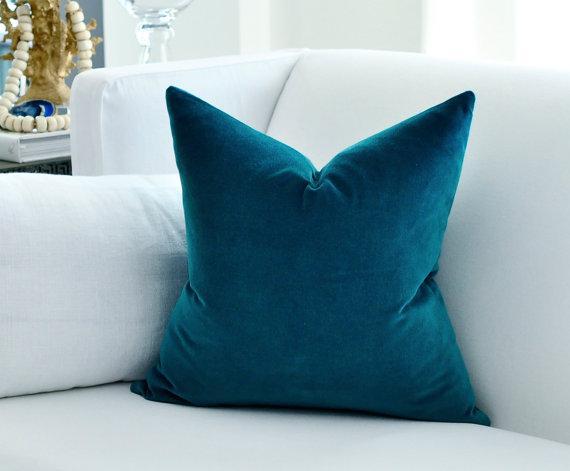 Belgian Peacock Blue Velvet Pillow Cover