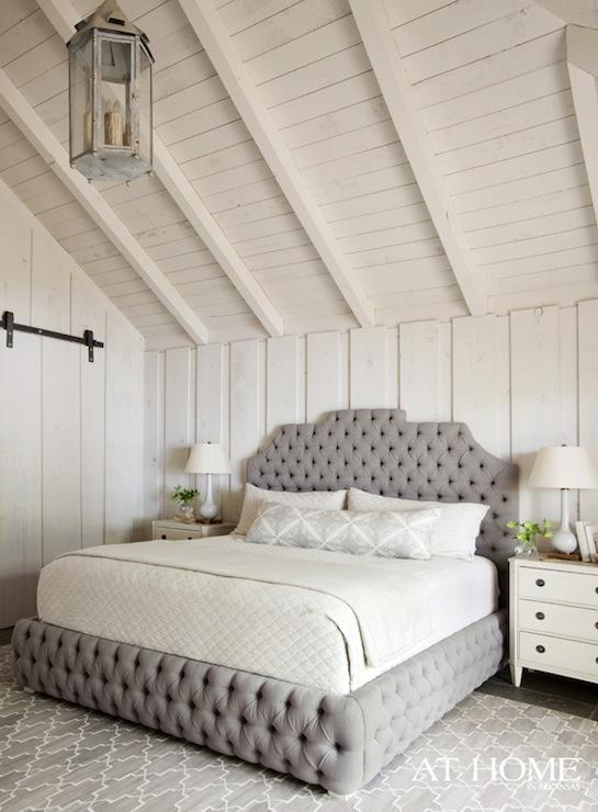 Gray Velvet Tufted Headboard Country Bedroom Sherwin Williams Toque White Atlanta Homes
