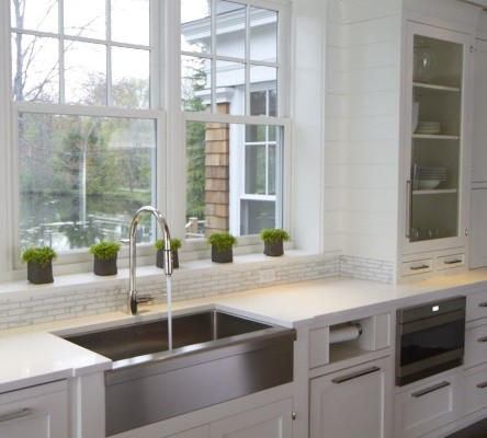 Stainless Steel Apron Sink Transitional Kitchen M
