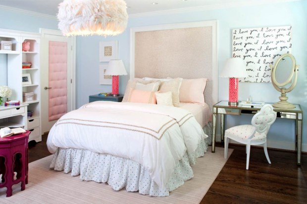 Paint the Walls Tranquil Blue Walled Bedroom Mirror Furry Chandelier Wall Art Mirrored Desk Standing Mirror