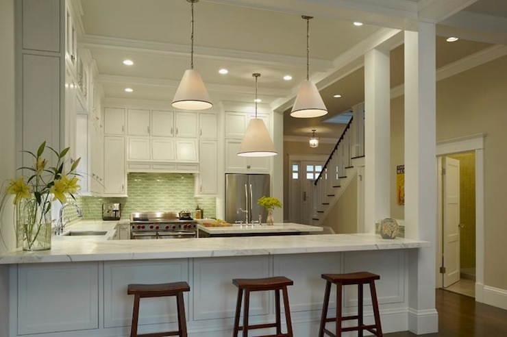 White And Green Kitchen Contemporary Kitchen