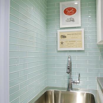 sea glass green backsplash tile design