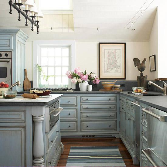 Distressed KItchen Cabinets Cottage Kitchen BHG