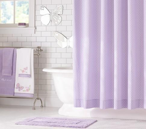mini dot shower curtain pottery barn kids