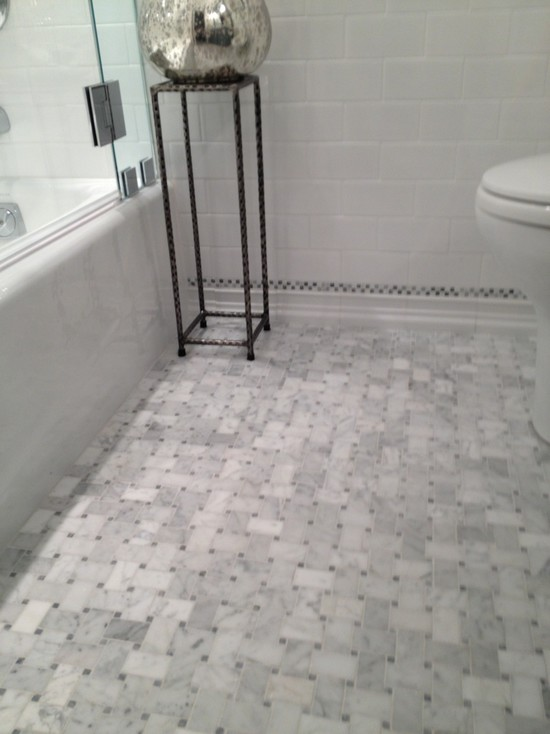 marble basketweave tile - traditional - bathroom - courthouse