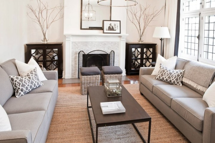 Living room with two sofas facing each other for Living room and family room next to each other