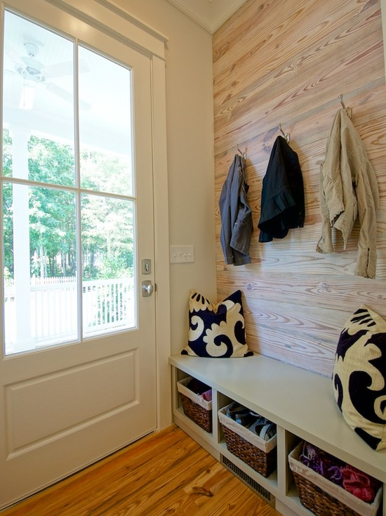 Oak Plank Wall Contemporary Laundry Room Melissa Lenox