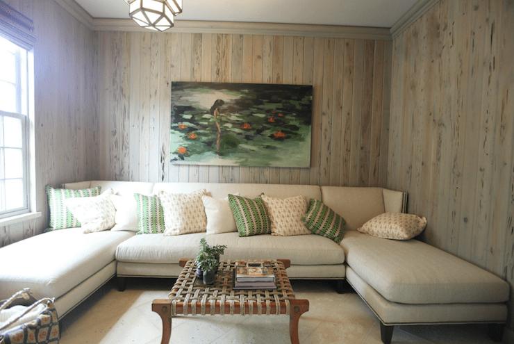 Wood Paneled Family Room Cottage Living Room Urban