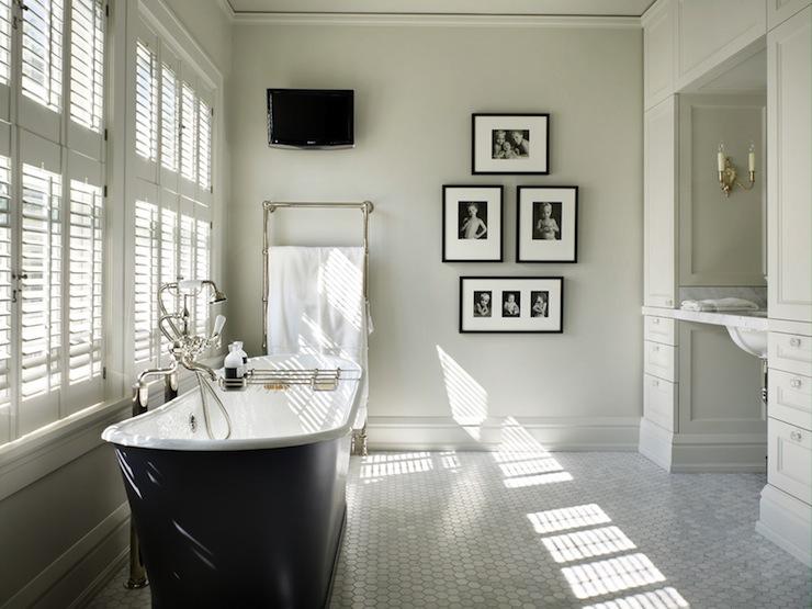 Black And White Diamond Tiles Contemporary Bathroom