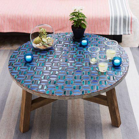 mosaic tiled coffee table indigo