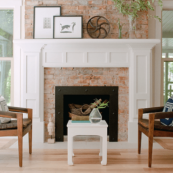White Brick Fireplace With Mantle Transitional Living