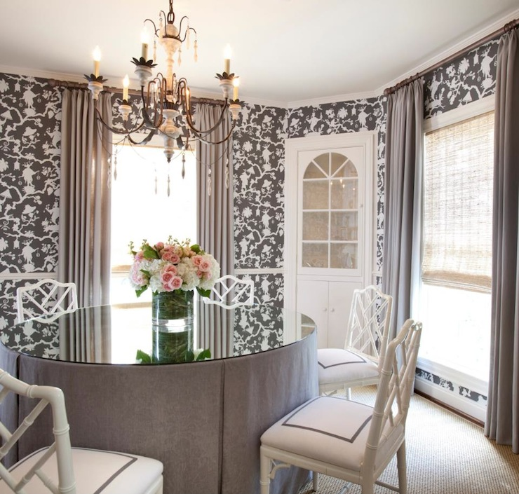 Shantung Silhouette Wallpaper Transitional Dining Room