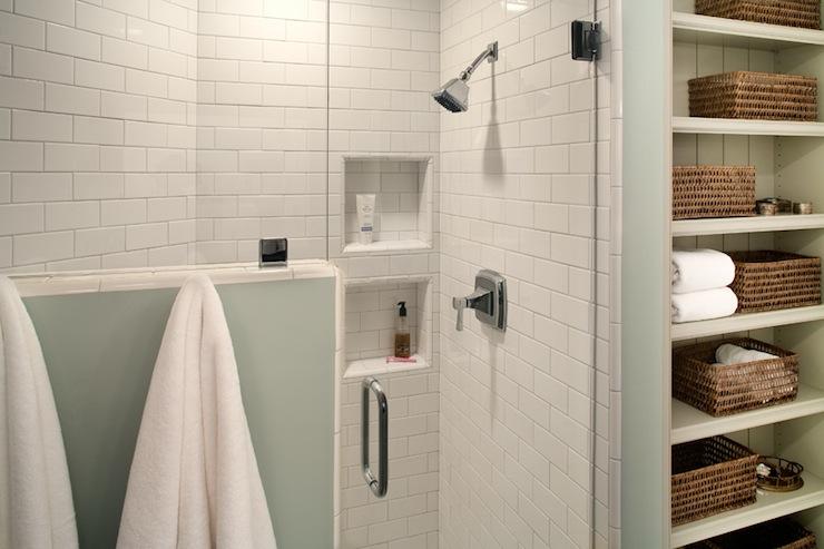 subway tile shower cottage bathroom